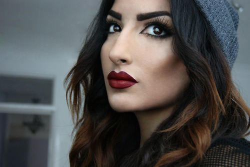Dark-Red-Lips-Holiday-Makeup-Tutorial